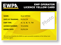 ewpa operator licence yellow card